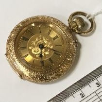 14CT GOLD CASED POCKET WATCH - WORKING BUT NEEDS A SERVICE