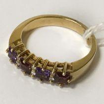 18CT GOLD DIAMOND & AMETHYST RING - SIZE M