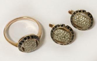 14CT GOLD RUSSIAN SIBERIAN BLACK & WHITE DIAMOND RING & MATCHING EARRINGS - RING SIZE P