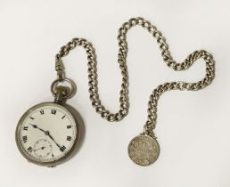 HM SILVER POCKET WATCH WITH CHAIN & COIN