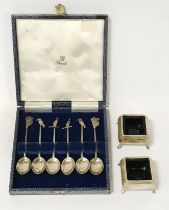 TWO SILVER SALTS WITH BRISTOL BLUE GLASS & SET OF SIX AUSTRALIAN SILVER SPOONS DEPICTING