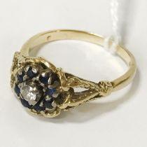 18CT SAPPHIRE & DIAMOND RING SIZE Q