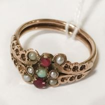 9CT ANTIQUE PEARL & RUBY GOLD RING - SIZE O