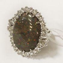 18CT WHITE GOLD DIAMOND LARGE OPAL RING - SIZE N