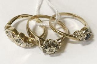 THREE 9CT GOLD DIAMOND & SAPPHIRE RINGS K,M &Q