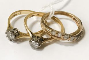 TWO 9CT GOLD RINGS WITH 8CT PLATINUM & DIAMOND RING SIZES O