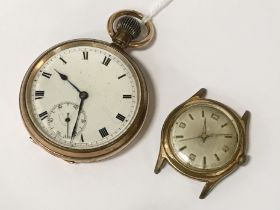 GOLD PLATED POCKET WATCH - NOT WORKING WITH SWISS WATCH - NOT WORKING