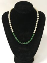 14CT GOLD PEARL & JADE NECKLACE