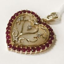 14CT GOLD MOTHER OF PEARL, DIAMOND & RUBY PENDANT