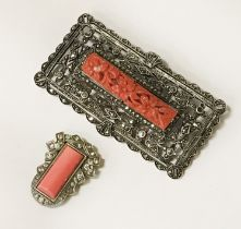 ART DECO SILVER CORAL LADIES BROOCH AND PLATINUM CORAL CLIP ON EARRINGS WITH DIAMONDS