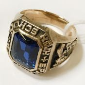 GOLD BLUE STONE RING SIZE P