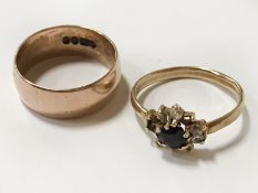 TWO 9CT GOLD RINGS - 6.3 GRAMS