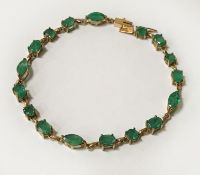 9CT GOLD BRACELET WITH EMERALD - 6 GRAMS
