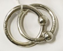 TIFFANY & CO 925 SILVER CONJOINED RATTLE/TEETHING RINGS