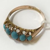 9CT YELLOW GOLD & TURQUOISE RING - SIZE P