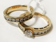 2 X 18CT YELLOW GOLD DIAMOND ENGAGEMENT, WEDDING RING - 6.4 GRAMS SIZE N