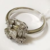 18CT WHITE GOLD DIAMOND PANELLED MIXED SHAPE DIAMOND CLUSTER RING SIZE O