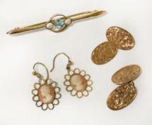 9CT GOLD CUFFLINKS, EARRINGS & TIE PIN WITH GEMSTONE