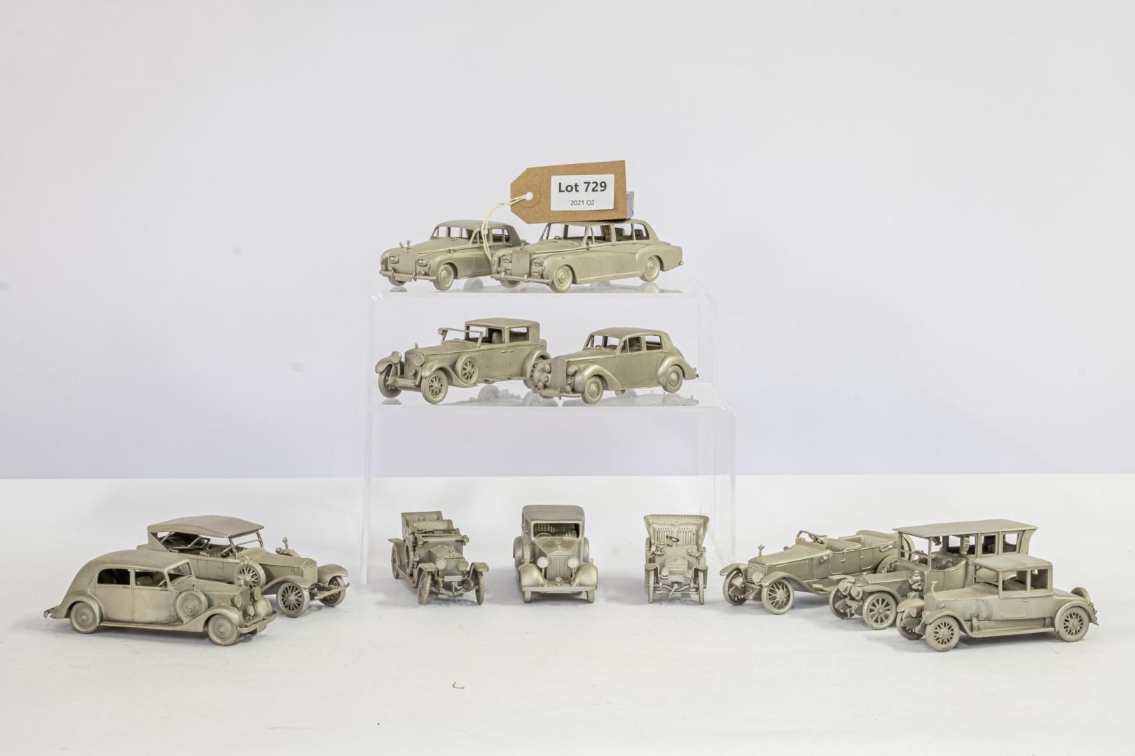 Danbury Mint 12 x Loose Pewter Rolls Royce Models - No Boxes