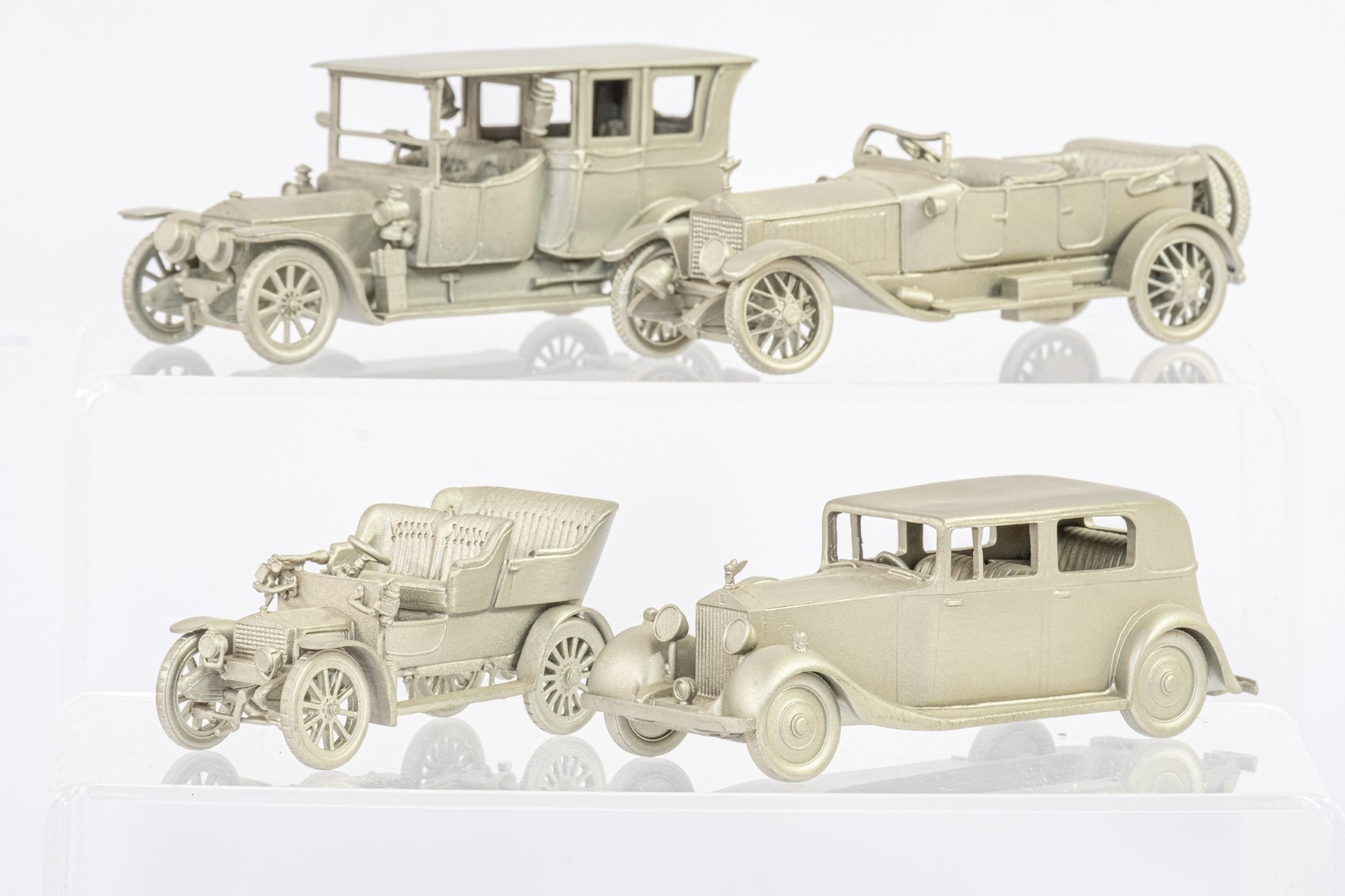 Danbury Mint 12 x Loose Pewter Rolls Royce Models - No Boxes - Image 3 of 4