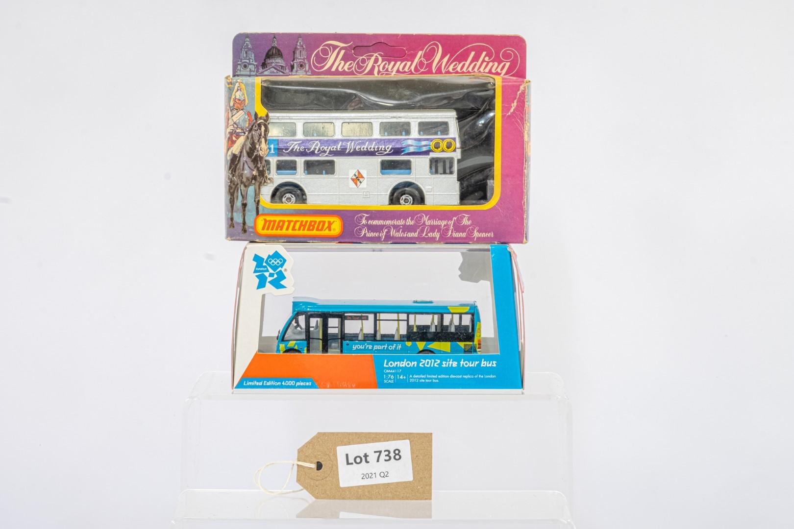 2 x bus models - Corgi OM44117 London 2012 & Matchbox KRW-15 The Royal Wedding