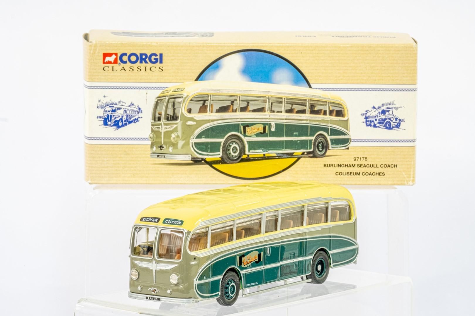 Corgi Burlingham Seagull Coach - Coliseum Coaches / Landrover Winch & 2 Wheel Loader - Tarmac - Image 2 of 3