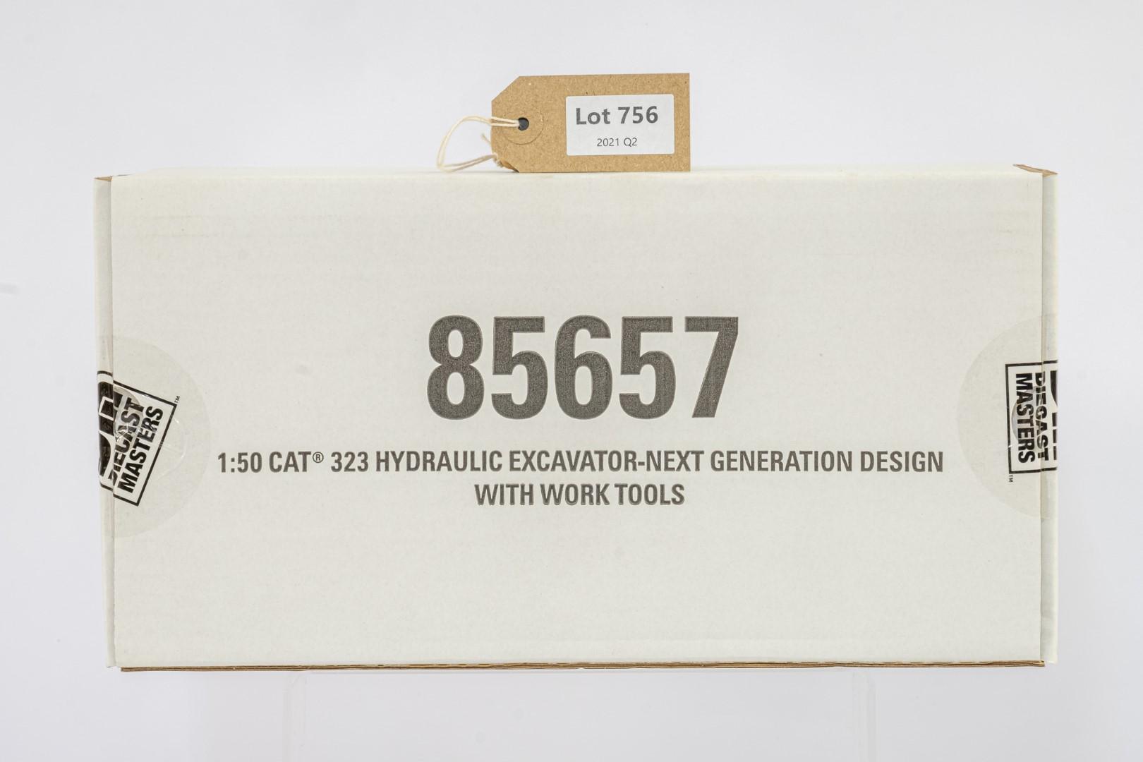 Diecast Masters CAT 323 Hydraulic Excavator Next Generation Design with work tools - Sealed Box