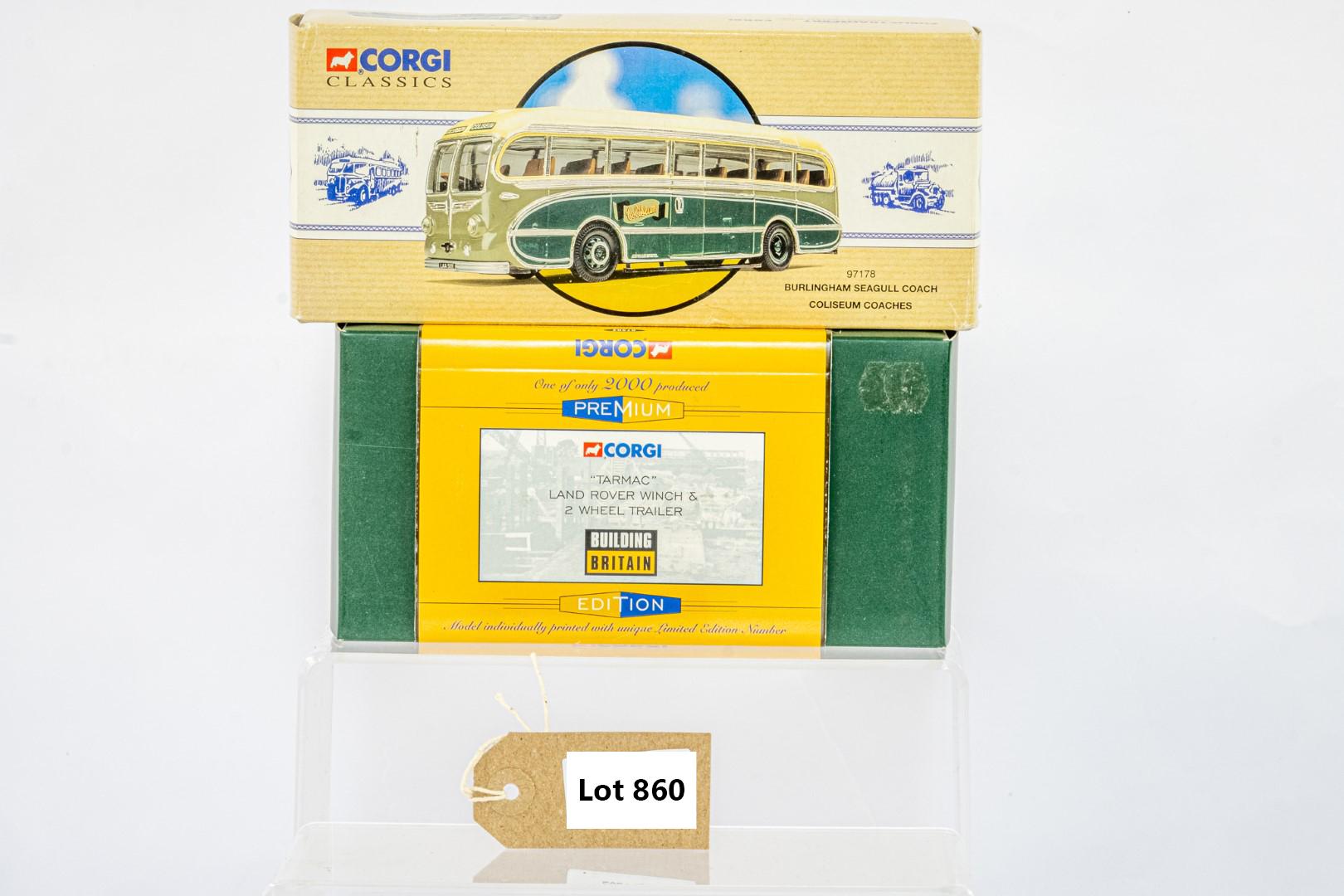 Corgi Burlingham Seagull Coach - Coliseum Coaches / Landrover Winch & 2 Wheel Loader - Tarmac