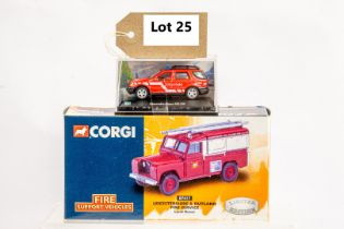 Corgi & Cararama Land Rover - Leicestershire & Rutland Fire Service & Merc Benz ML320 Hungarian Fire