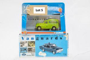Vanguards 2 Boxed Car Models - Morris Minor Van - Aldershot / Ford Cortina MKII - Thames Valley Poli