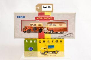 Corgi & Vanguard Karrier Boxback - Rail Express Parcels / Ford Popular Van & Bedford CA Van - Britis