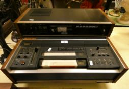A Rare JVC Model CR6000 E Recorder with Colour TV Tuner TU20E and speaker, c. 1970 together with a
