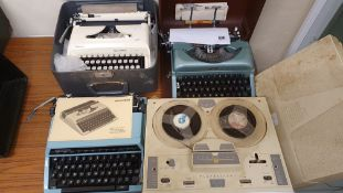 A fidelity Playmaster twin track, three typewriters; Remmington Ten Forty, Silver Reed SR 180 and