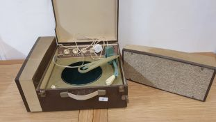 A Philips Stereophonic record player with detachable speaker and two suitcases (3).