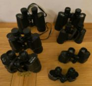 Seventeen pairs of cased binoculars, to include Barr & Stroud and Mark Scheffel (2).