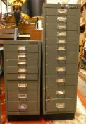 A Bisley 11 drawer metal filing cabinet and a matching 8 drawer example (2)