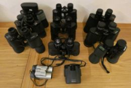Ten pairs of cased binoculars, to include Bosche, Prinlux and Visonary.