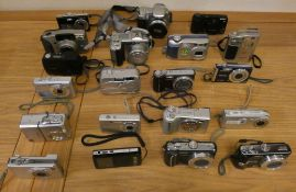 A collection of mainly compact cameras, some cased, a collection of video camera's, to include
