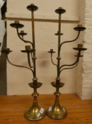 A pair of 6 light brass candelabra, 67 cm and a pair of glass chandeliers (4).
