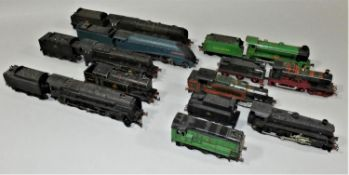 Four Double O locomotives, 46232, A4 7, unmarked black 5, 69567, together with six plastic