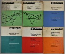 Approximately 40 railway timetables, various regions, late 1960's/early 1970's.