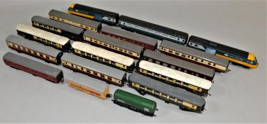 Thirteen 00 gauge carriages, two goods wagons and an Intercity 125 set, (two power cars and a