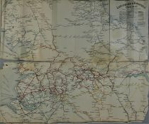 An original Lancashire & Yorkshire Railway folding map of the rail network.