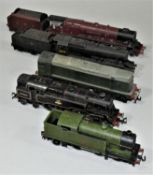 Four Double O locomotives, 6231, 48076, 80054, LNER 9596 and a diesel locomotive D8000 (5).