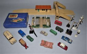 A collection of model railway power control units, untested and model railway station accessories (