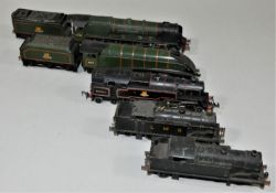Five Double O locomotives, 46242, 60016, 80054, LMS 0-6-2 tank engine and unmarked 0-6-2 tank engine