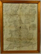 A Bradshaw's Railway Map of G.B. and Ireland, dated August 1873, 70 x 53 cm, reverse print
