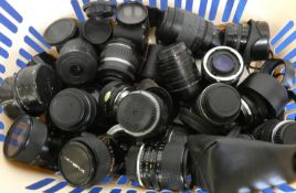 A collection of camera lens, to include Hoya, Olympus, Sigma, Pentax and Canon, approximately 25.