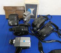 A quantity of cased cine cameras including Minolta, Sony, Sanyo, Dekko, Miranda and Bell & Howell.