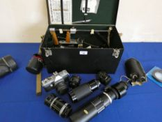 A Praktica super TL3 with lens in a hard case and 5 other lens including Solitor 1:8 450mm and